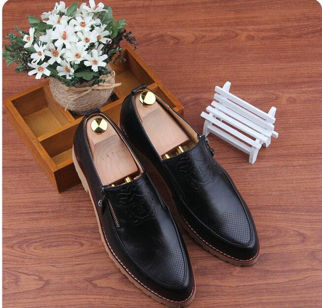 Brand Retro vintage men White Genuine Leather pointed toe fashion luxury business dress shoes Oxfords EUR 37-43 T--25