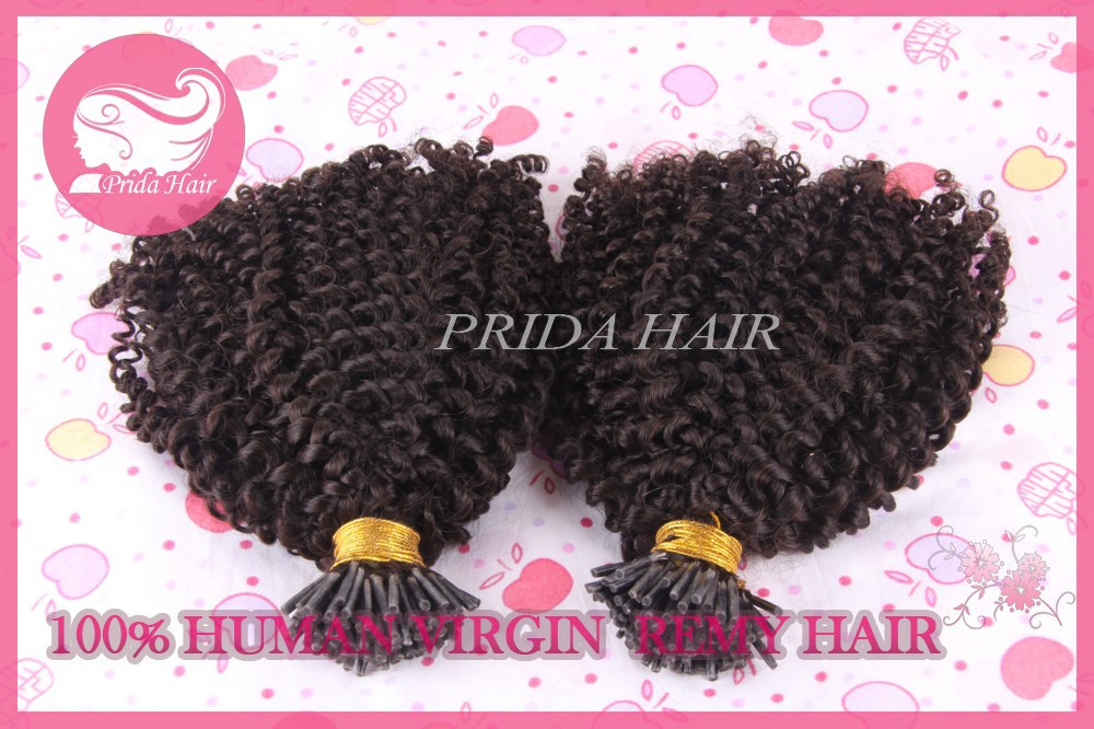 100 keratin i tip deep kinky curly Brazilian hair extensions-1g/strand, 100strands/pack<br><br>Aliexpress