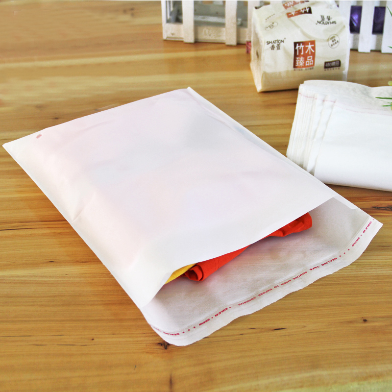 100pcs/lot 35cm*45cm*70Micron High Quality White PE Self-adhesive Bags Plastic Sealing Storage Clothing Packaging(China (Mainland))