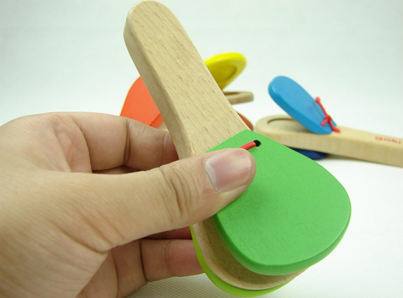 Lovely Kids Child Baby Wooden Castanet Clapper Handle Musical Instrument Toy Preschool Educational Hand Clapper(China (Mainland))