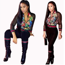 Buy 2017 Autumn New Black Floral Print Two Piece Set Women Mesh Jumosuit Rompers Casual Tracksuit Zipper Cardigan Bodysuit for $26.80 in AliExpress store