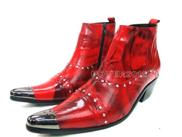 Здесь можно купить  New Arrival Red Genuine Leather Pointed Toe knight Cowboy Ankle Boots Men Fashion High Top High Heel Men Shoes Big Size 38-46  Обувь