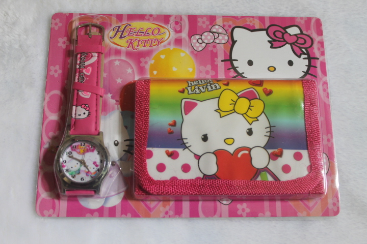 Гаджет  free drop shipping hot sales high quality child leather wristwatch 3D cartoon hello kitty girls quartz watch with wallet sets None Часы