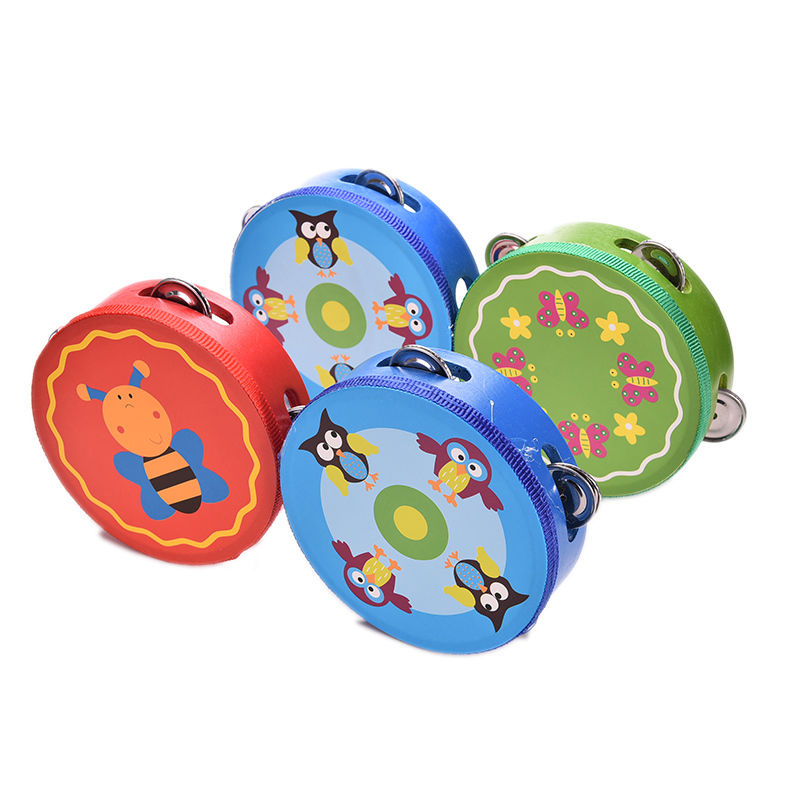 Drum Rattles Toy Tambourine Educational Toys Gift Hand Held Tambourine Drum Bell Baby Kids Wooden Musical Toys(China (Mainland))