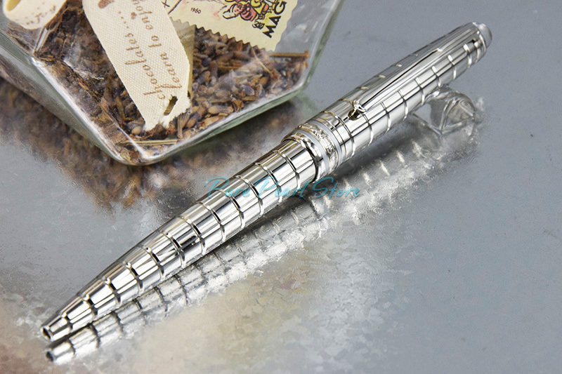 MB-163 Crystal Head with Diamond High Quality Office School Stationery Silver Checkered and Clip Ballpoint Pen(China (Mainland))