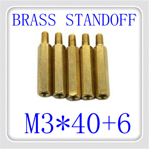 500pcs/lot High Quality PCB M3*40+6 Brass Hex Male to Female Standoff / Brass Spacer Screw<br><br>Aliexpress