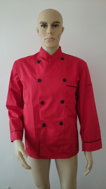 Long Sleeve Classic Kitchen Cook Chef Waiter Waitress Coat Uniform Jacket Red