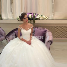 Romantic Off the Shoulder with Appliques  Wedding Dresses 2015(China (Mainland))