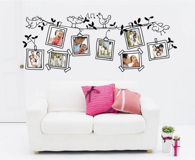 Diy photo frame birds wall stickers living room tv sofa for Diy photographic mural
