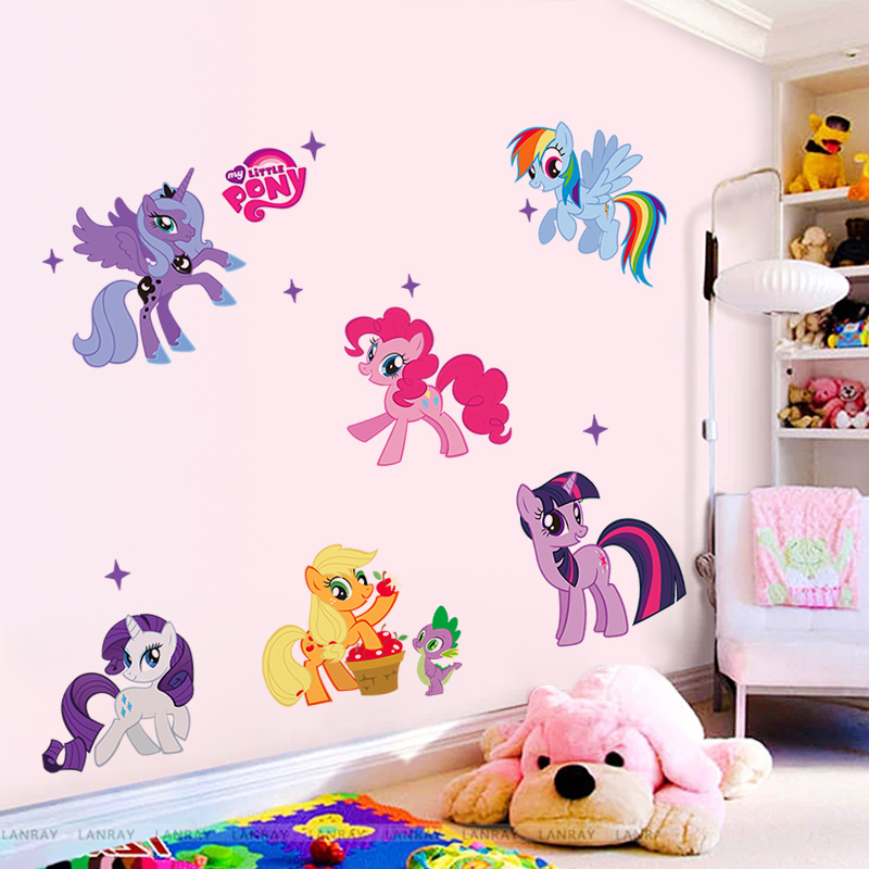 New arrival Kid Wall Stickers My Little Pony 6 ponies removal wall sticker girls sticker for kids room factory sales directly(China (Mainland))