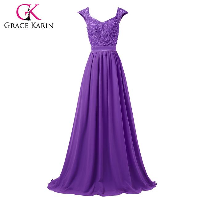 Последние грейс карин рукавов элегантные длинные вечерние платья серый синий фиолетовый ...