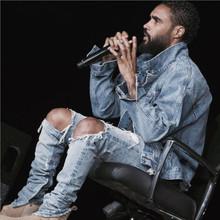 Kpop flaco rasgado de corea del Hip Hop pantalones de moda enfriar hombres ropa urbana mono Men jeans yeezy de kanye west slp miedo de dios(China (Mainland))