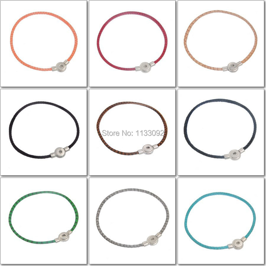 12pcs/lot New Snake Pu leather snap button necklace pendant jewelry ginger snap charm button pendant Magnetic Clasp necklace