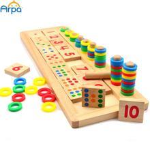 Montessori los anillos del arco iris dominó niños Preschool Teaching Aids conteo y tablero de apilamiento matemáticas de madera juguete(China (Mainland))