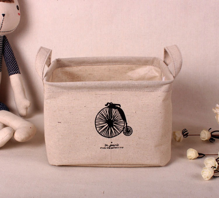Zakka Stackable Multi-function Waterproof Recycle Bin Storage Box Linen Toy collection(China (Mainland))