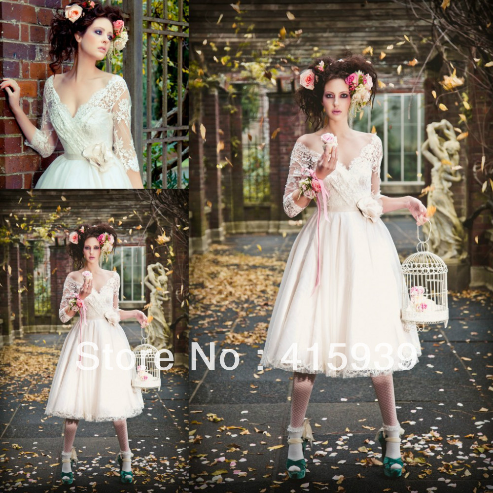 Aliexpress Buy Hot Sale A Line V Neck See Through Lace Tea Length Vintage Wedding Dress