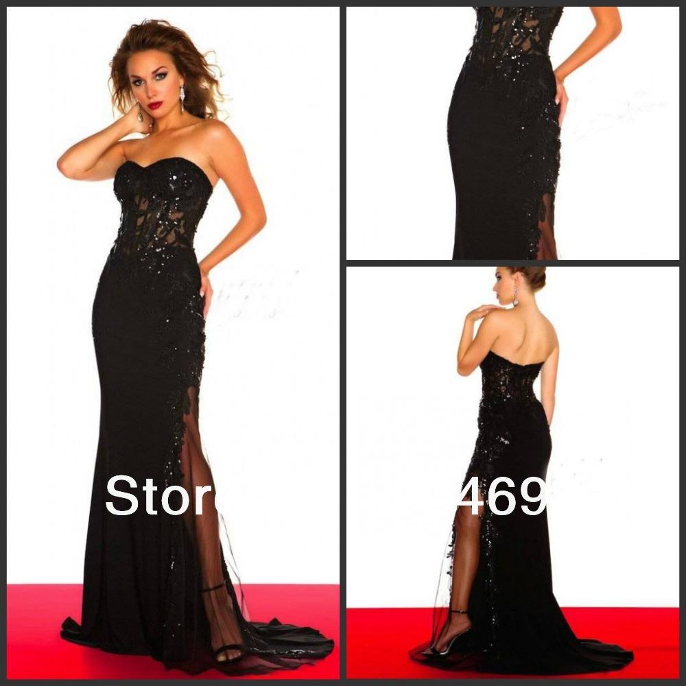 Long strapless black lace dress