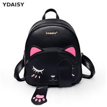 Buy Cat Backpack Black Preppy Style School Backpacks Funny Pu Leather Fashion Women Shoulder Bag Travel Back Pack Sac X157 for $17.94 in AliExpress store