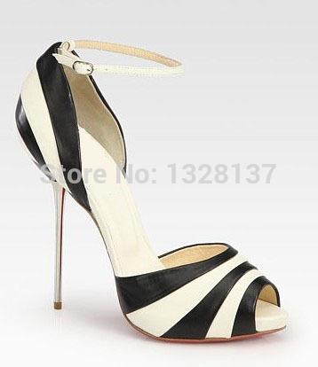 Sandals High Thin Heels Brand Women Shoes Summer Sandal Ladies High Heel Sandals PU Zebra Shoes Girls Open Toe Thick Sole Sandal