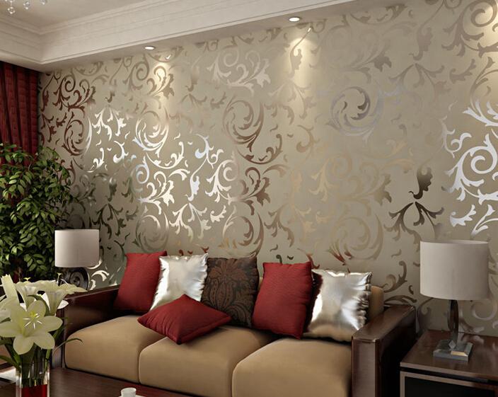 Adesivo papel de parede floral 3d damask vintage embossed - Papel pared vintage ...
