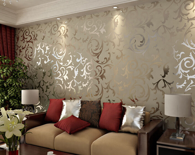 Home Decor Living Room trend home decor living room topup news home Adesivo Papel De Parede Floral 3d Damask Vintage Embossed Home Decor Living Room Wallcovering Flocking Mural