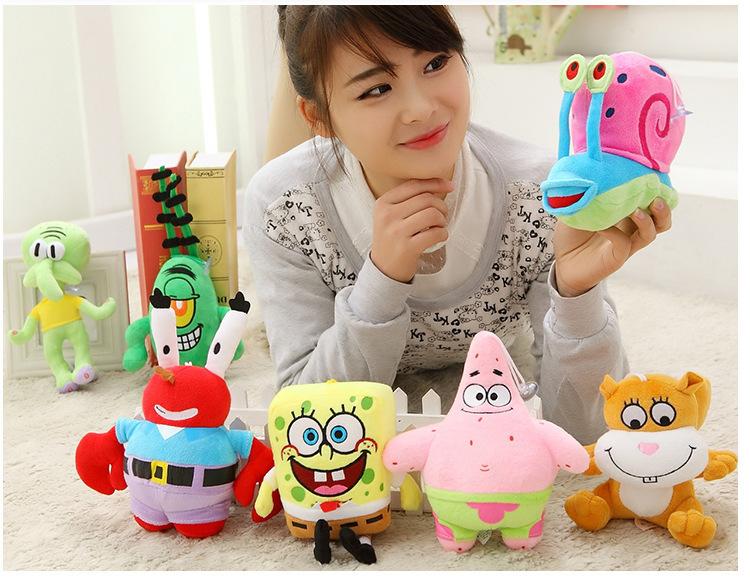 7pcs/set Mini Soft Baby Toy Plush Spongebob,Patrick star,Squidward,Tentacles,Mr. Krab,Sheldon Plankton Gary Kids Toys - Weddings & Events Collection store