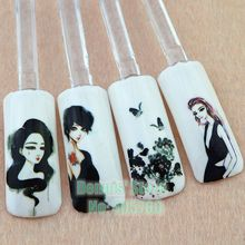 Wholesale 4pcs/lot Lady Protraits Graffiti Prints Water Transfer Nail Art Sticker DIY Decal Beauty Salon C106# Free Shipping