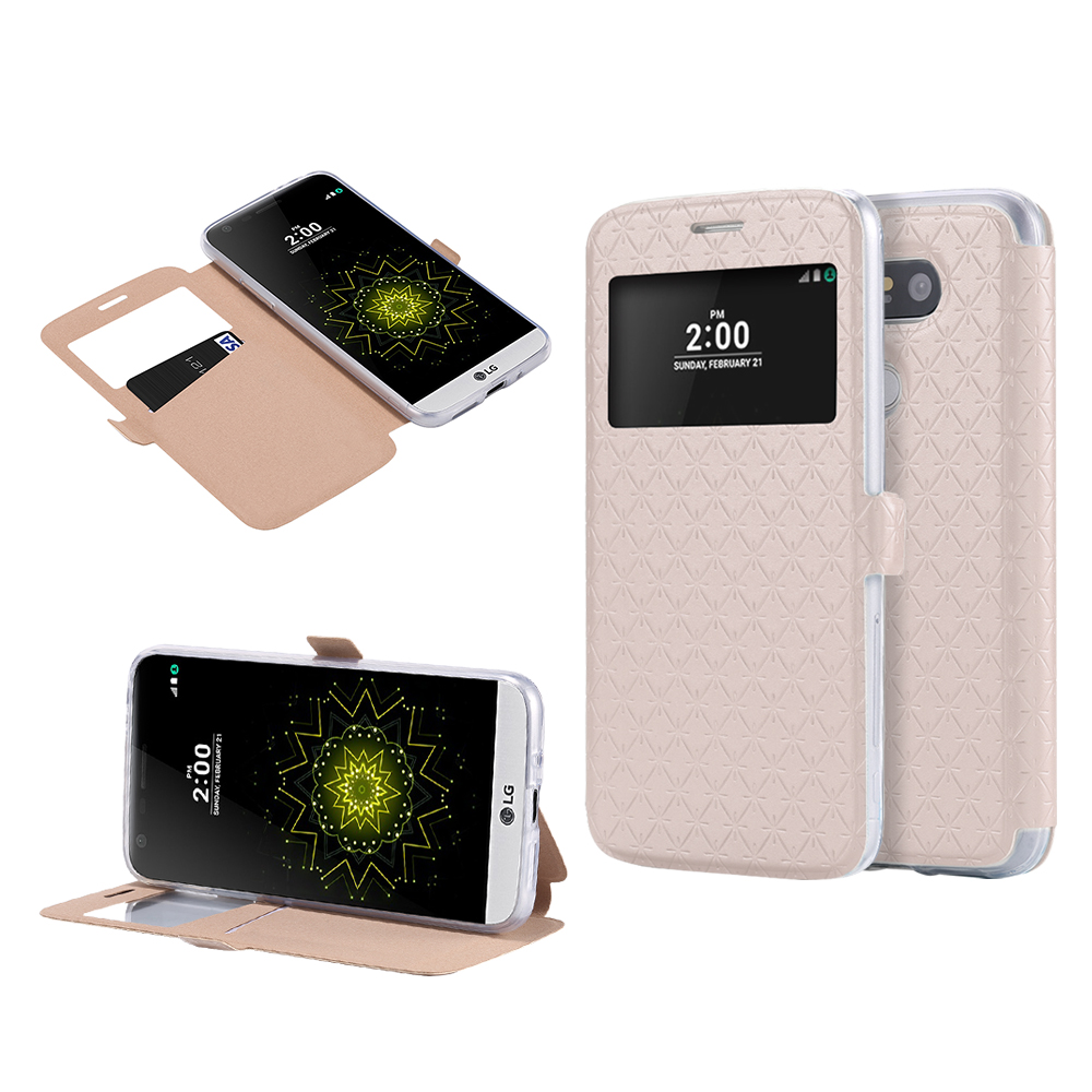 Ultra Flip View Window Case For LG G5 Fashion Grid Leather + Clear TPU Card Slot Cover For LG Optimus G5 H868 Mobile Phone Bags(China (Mainland))
