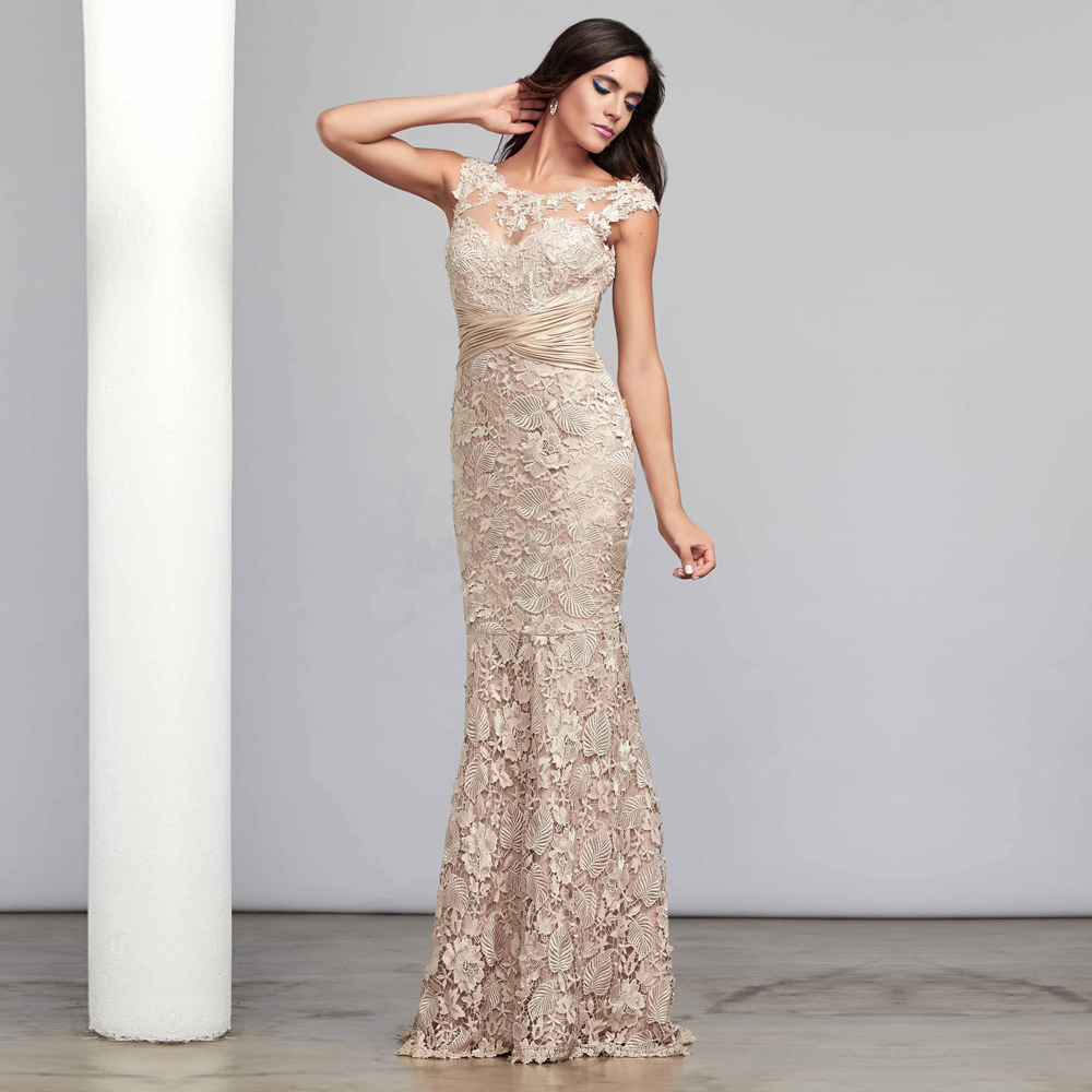 Vestido de renda champagne long lace evening dresses for Formal long dresses for weddings