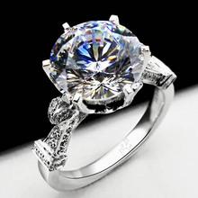 3 Carat Luxury Best Quality  Moissanite Wedding Ring Pure 14K White Gold Customized Engagement Ring(China (Mainland))