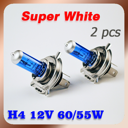 FREE SHIPPING 2 Pieces H4 Halogen Bulb Super White 12V 60/55W Xenon Bright Dark Blue Quartz Glass Car Headlight Automotive Lamp(China (Mainland))
