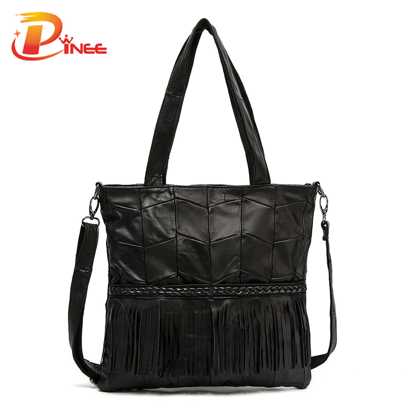 Top Fashion Large Women Handbags Shoulder Bags Genuine Leather tassels And weave Design(China (Mainland))