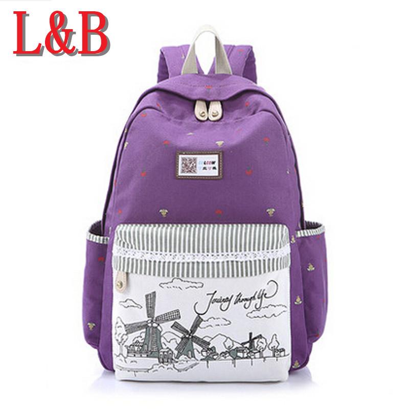 2015 Casual Canvas Backpack Women Fashion Printing School Bags For Girls Dot Printing Backpacks Shoulder Bags Mochila Laptop Bag(China (Mainland))