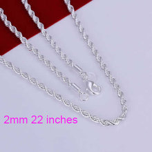 "N226- 2mm 16"" 18"" 20"" 22"" 24""  Chains, silver necklace Shining Twisted Line 2mm 22 inches Necklace xozn norq(China (Mainland))"