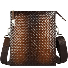Buy Deep Brown Genuine Leather Small Bag Stylish Knitting Gradient Color Office Work Bag Top Layer Cowhide Men Casual Shoulder Bag for $54.87 in AliExpress store