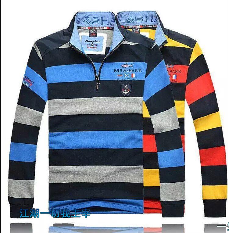 Free shipping Paul product long sleeve 100% cotton T-shirt, stripe leisure brand t-shirts, collar half zipper shark men T-shirt(China (Mainland))