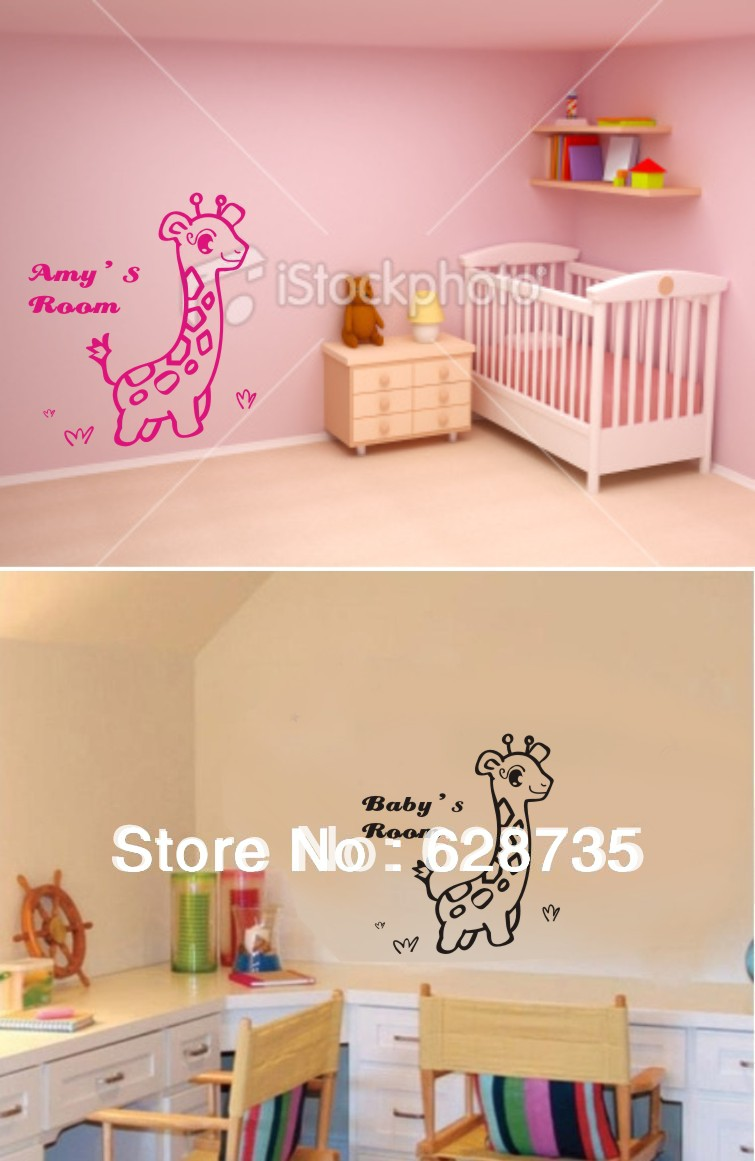 Free shipping custom personalized name wall stickers for Personalized kids room decor