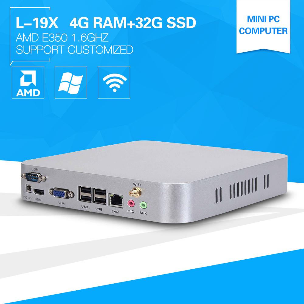 XCY Linux Micro PC Computing L-19X E350 1.6GHZ 4G RAM 32G SSD support Bluetooth wifi Mini Server Thin Client(China (Mainland))