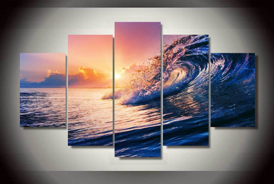 HD Printed ocean wave blue sea sky Painting Canvas Print room decor print poster picture canvas Free shipping/ny-2087(China (Mainland))