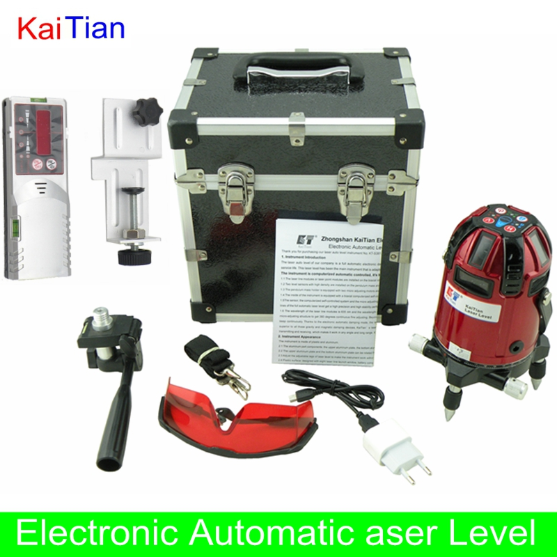 KaiTian Rotary Laser Level Detector Electronic Automatic 8 Lines 635nm Lazer Level with Outdoor/Slash Function Cross Level Laser(China (Mainland))