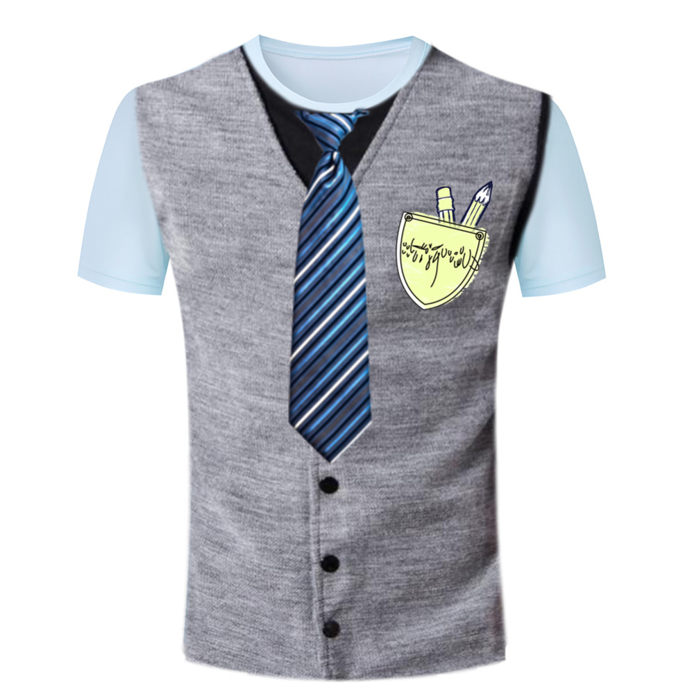 New European Style Men Tee Shirt Tie Tuxedo Printing T-Shirts Tight Brand Fitted Short Sleeves Novelty Leisure Camisetas(China (Mainland))