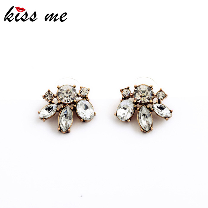 KISS ME Vintage Style Small Resin Stone Stud Earrings Fashion Jewelry Women Retro Brincos - Official Store store