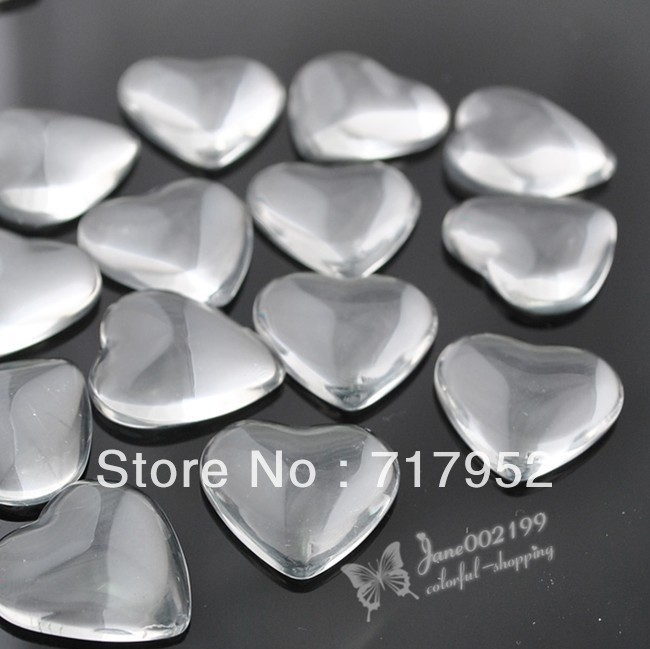 20 pcs Heart Clear Glass Flatback Dome Seals Embelishments 20mm JOB094(China (Mainland))