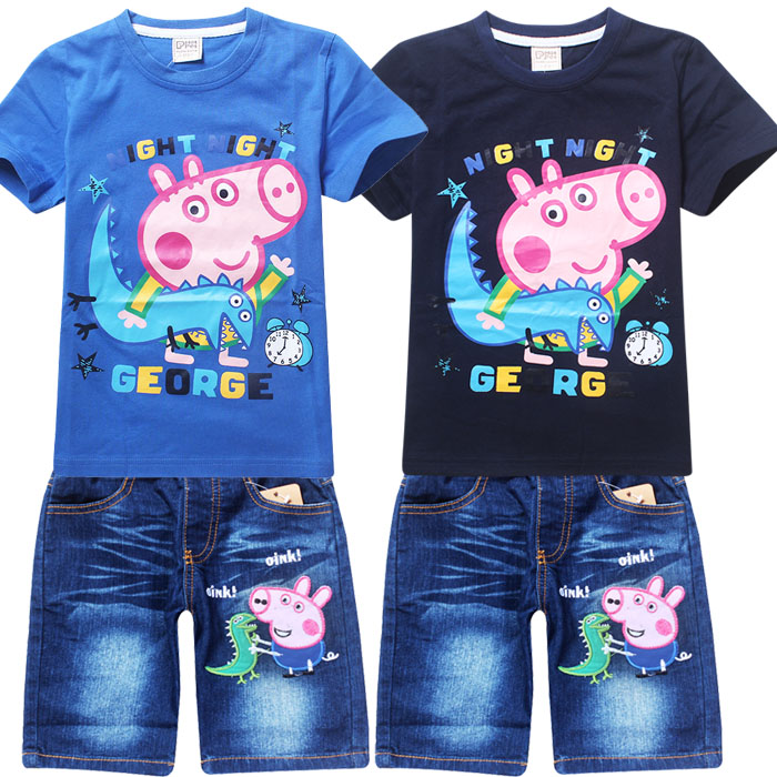 2016 Summer Boys Clothing Sets Kids Boys Clothes Short Sleeve Shirt+Denim Shorts Cartoon boys clothes sets for kids