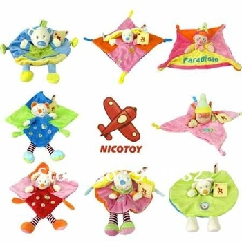 Wholesale Free shipping Nicotoy Bunny Baby Security Blanket Comfort Comforter infants Toddlers Soft Plush Rattles kids Toys