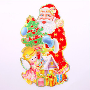 2015 new 10 / bag 48cm * 28cm double-sided three-dimensional collage Santa Claus Christmas tree ornament Christmas ornaments()