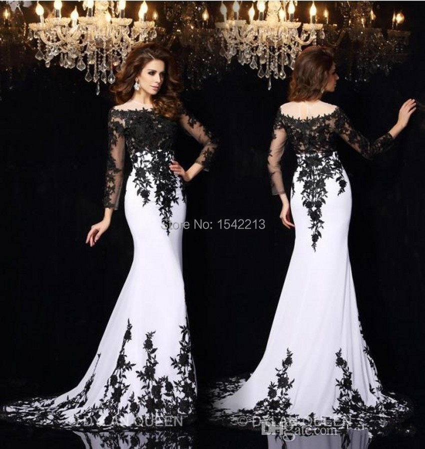 Popular Lace Black and White Evening Dress-Buy Cheap Lace Black ...