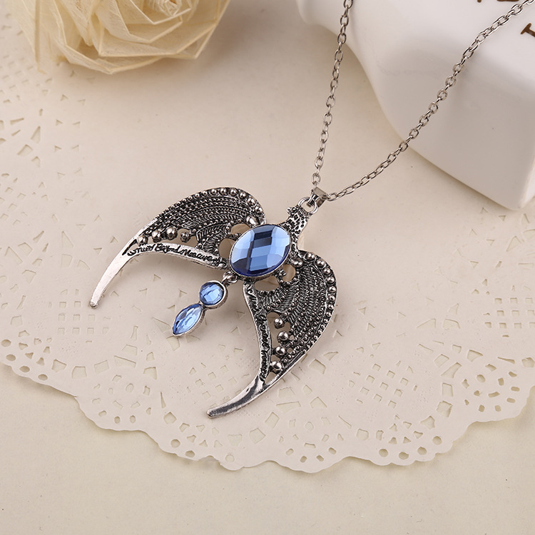Harry Potter Jewelry Hogwarts school Big Sapphire Stone pendant necklace boho charms Eagle Wings Necklace Sapphire