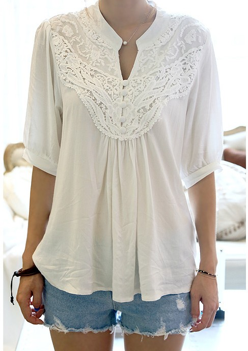 Made in China factory direct sale cheap price women summer style white lace crochet rayon patchwork boutique blouse(China (Mainland))