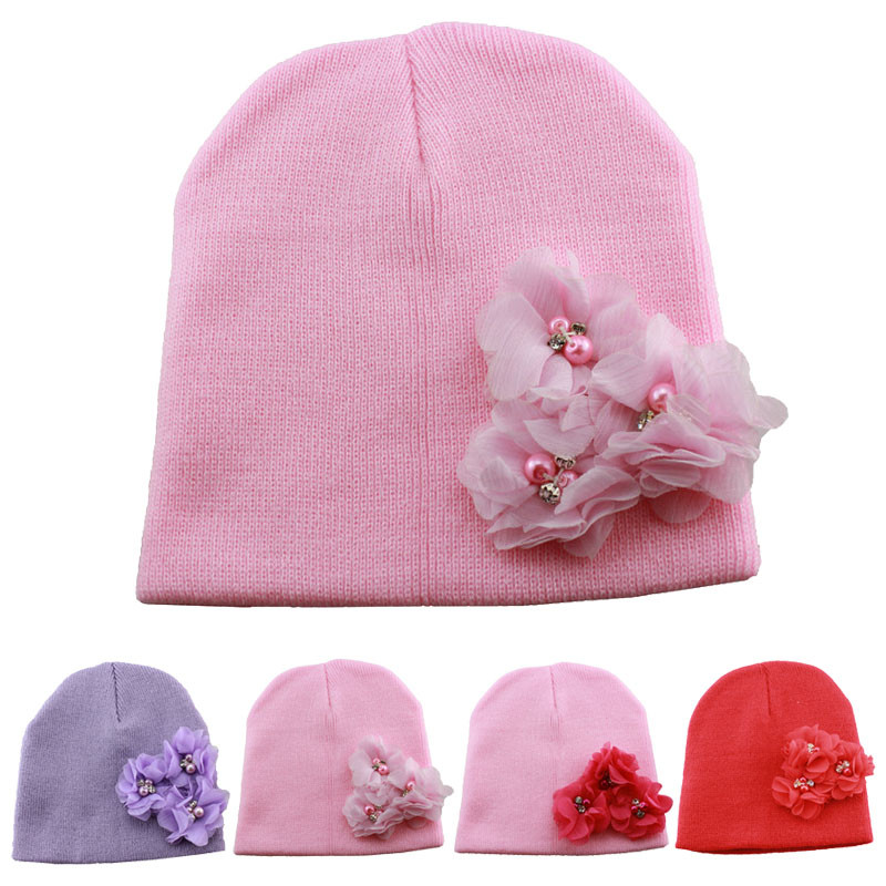 New Fashion Hot Hand-Knitted Bonnet Enfant Newborn Beanie Wool Hat Flowers Baby Winter Hats For Girls(China (Mainland))